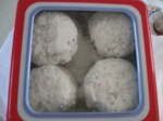 The paczki are cooked and sugared and ready to eat